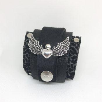 unikatna usnjena zapestnica black rock angelwings evileve