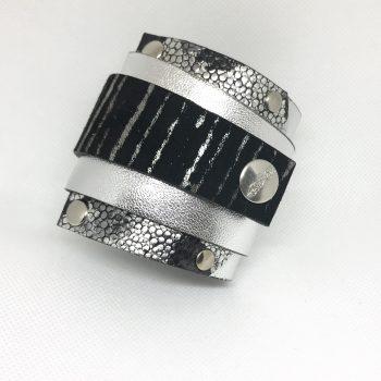 unikatna usnjena zapestnica silverlove edgy evileve