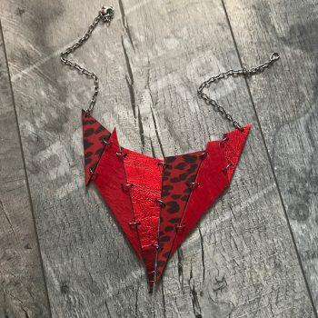 dvostranska usnjena ogrlica spike evileve