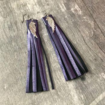 Usnjeni uhani Fringe Purple EvilEve