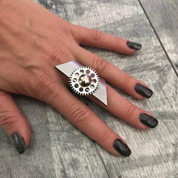 usnjen prstan steampunk srebrn evileve