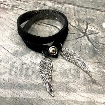 zapestnica ogrlica angelwings glitter silver black 4 v 1 evileve