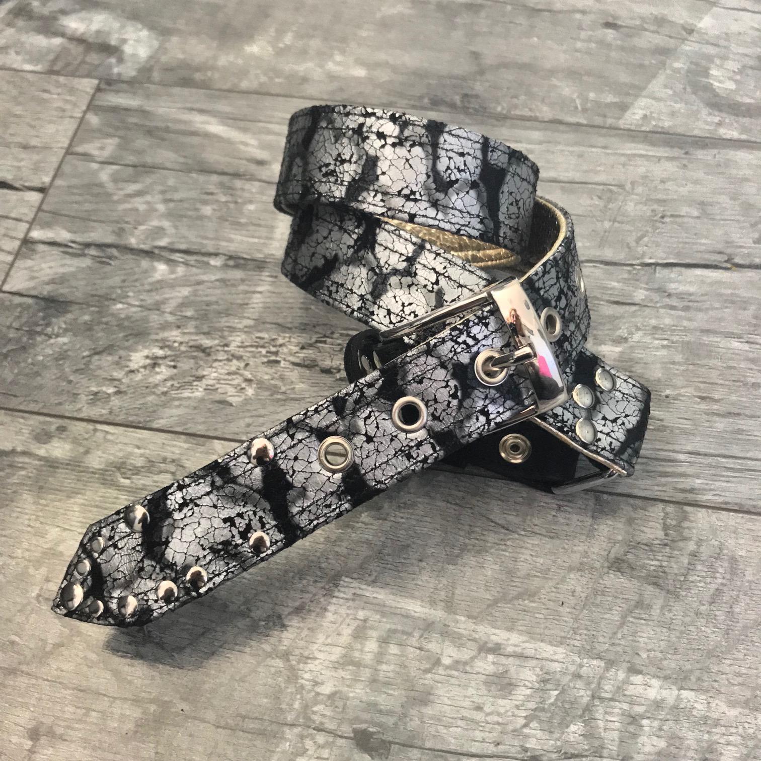 platinum silver black leather belt evileve