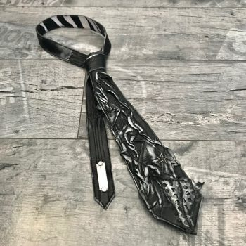 Rockstar zebra usnjena kravata evileve