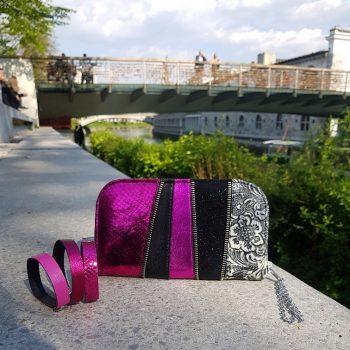 usnjena denarnica pink chic maxi evileve