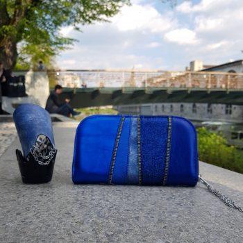 usnjena denarnica blue chic maxi evileve