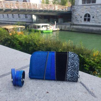 usnjena denarnica deep blue chic maxi evileve