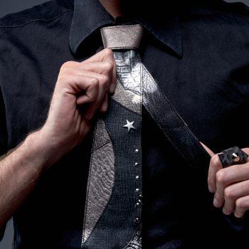 usnjena moska kravata evilstar