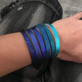 dvostranska usnjena zapestnica modra chic blue evileve