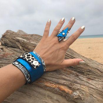 komplet blue passion usnjena zapestnica prstan evileve