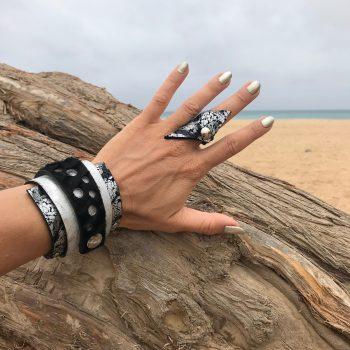 komplet silver passion usnjena zapestnica prstan evileve