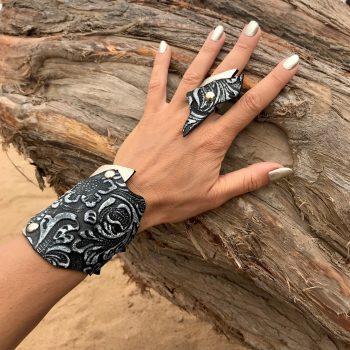 komplet rockangel pearl silver black usnjena zapestnica prstan evileve