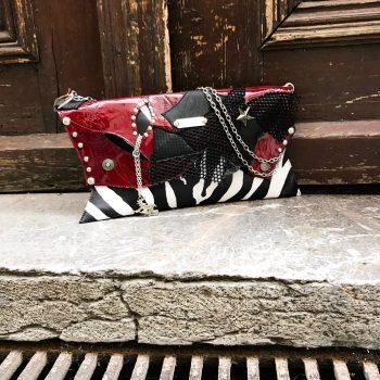 usnjena torbica clutch burgundy zebra evileve