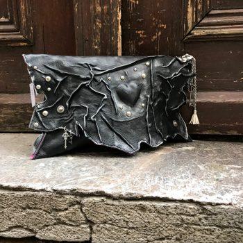 usnjena torbica clutch blackangel evileve