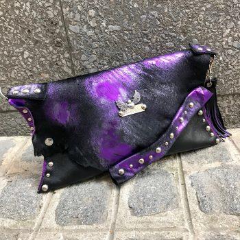 usnjena torbica clutch purple cavallino evileve