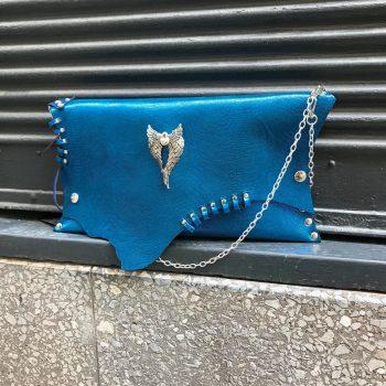 usnjena torbica clutch blue angel evileve