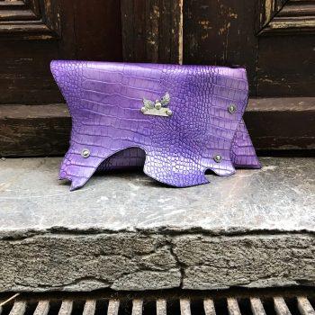 usnjena torbica clutch purple sugar evileve