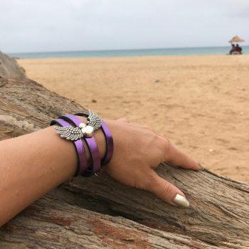usnjena zapestnica ogrlica angelwings purple evileve