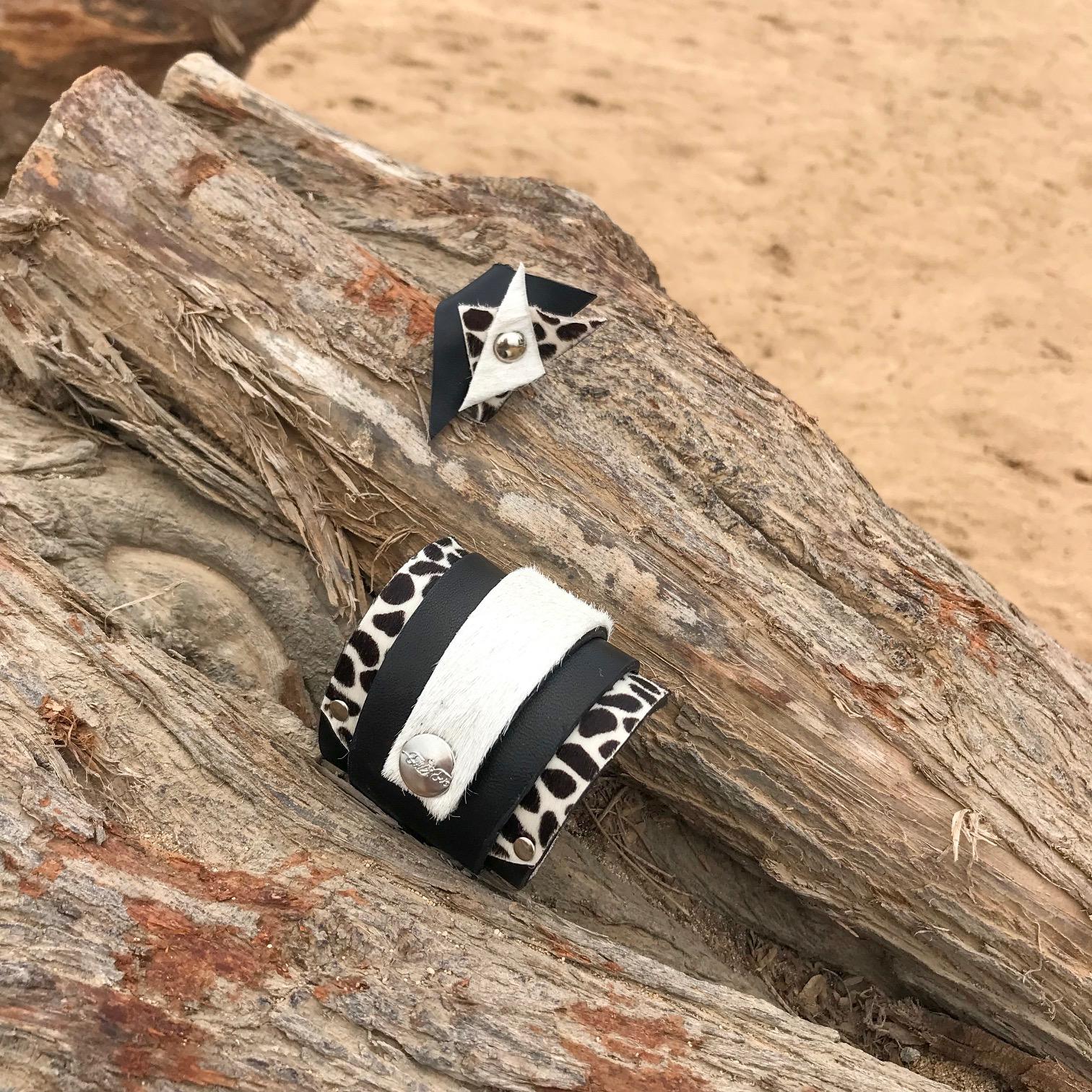 komplet cavallino passion usnjena zapestnica prstan evileve