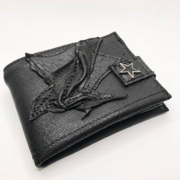 unikatna moska usnjena denarnica blackstar cracked evileve