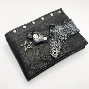 unikatna usnjena moska denarnica blackstar studs evileve
