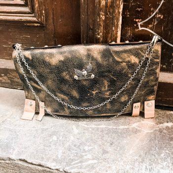 unikatna usnjena torbica clutch chic black rosegold evileve