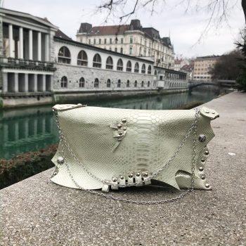 unikatna usnjena torbica clutch pearl love evileve
