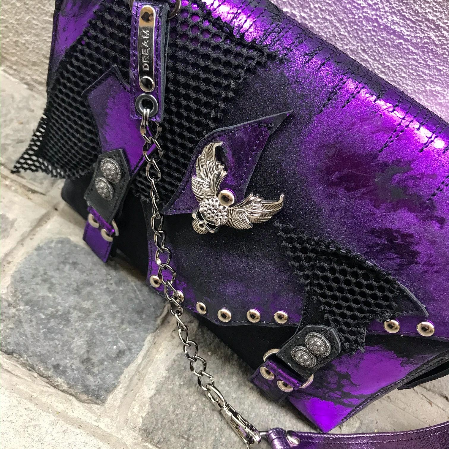 unikatna usnjena torbica messenger bag lila cavallino evileve