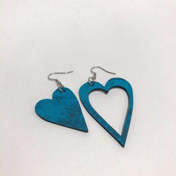 unikatni usnjeni uhani srcki caribbean glittery blue evileve
