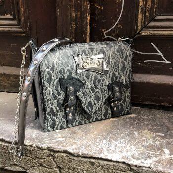 unikatna usnjena torbica messenger bag leather and lace evileve