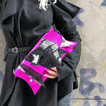 unikatna usnjena torbica clutch hotpink fashion evileve