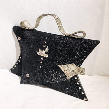 unikatna usnjena torbica clutch black passion angel evileve