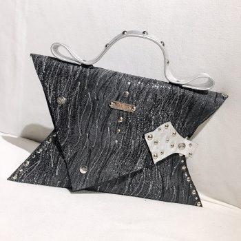 unikatna usnjena torbica clutch glittery gray angel evileve