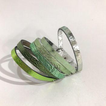 dvostranska unikatna usnjena zapestnica chic green evileve