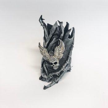 unikatna usnjena zapestnica Skull Glam EvilEve
