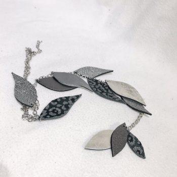 unikatna usnjena ogrlica z medicinskim jeklom Leaves Deluxe Silver EvilEve