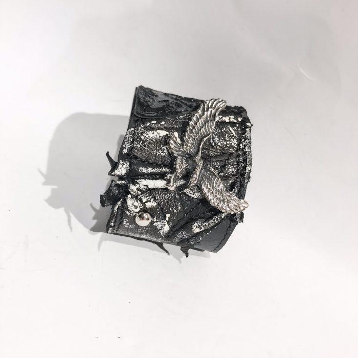 Unikatna usnjena zapestnica Eagle Unisex EvilEve