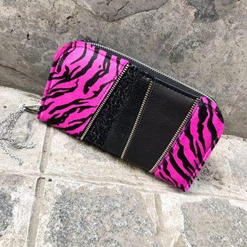 Unikatna usnjena denarnica Pink star chic maxi EvilEve