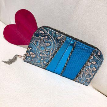 Unikatna usnjena denarnica Greek blue chic maxi EvilEve