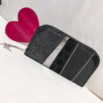 Unikatna usnjena denarnica Black Dot chic maxi EvilEve