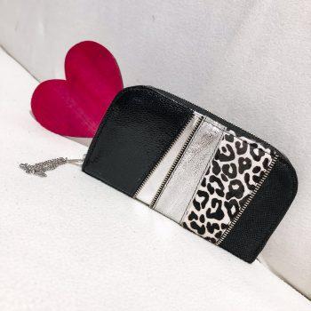 Unikatna usnjena denarnica Black and white chic maxi EvilEve