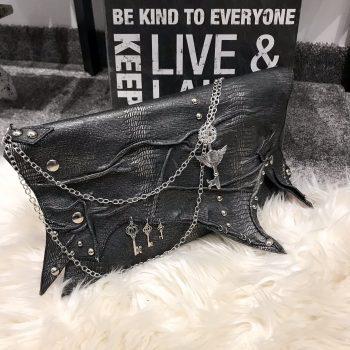 unikatna usnjena torbica Antracit Edge EvilEve
