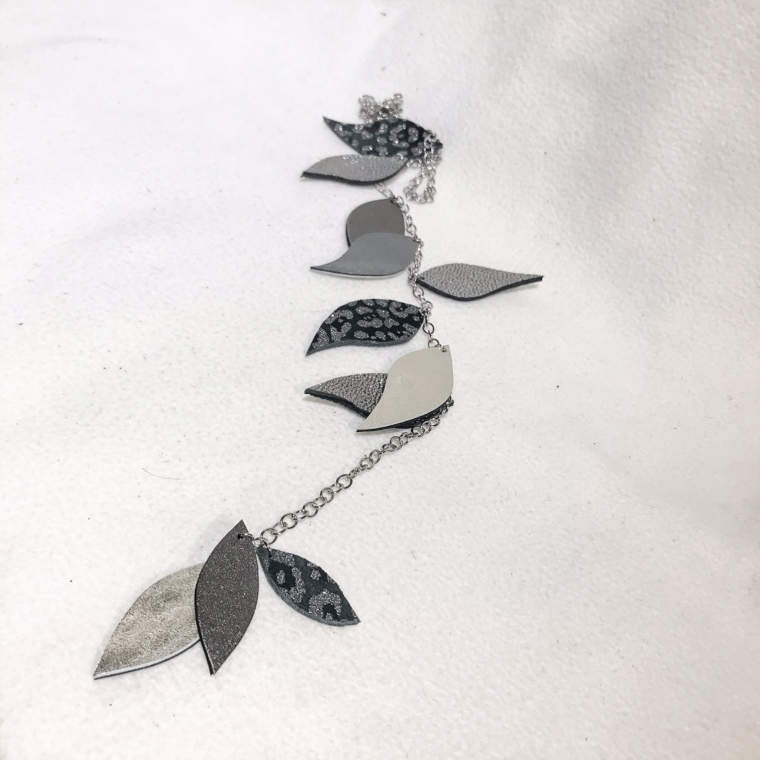 Unique leather and stainless steel necklace Leaves Deluxe Silver EvilEve