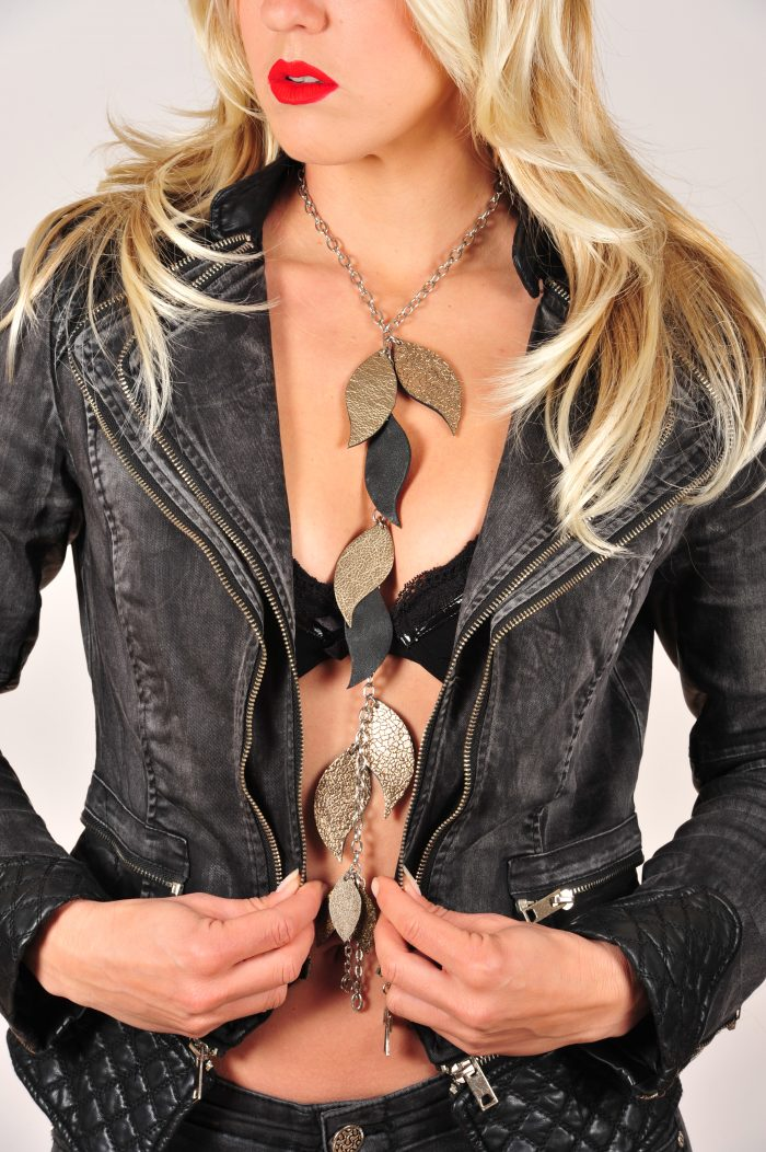 Unique leather and stainless steel necklace Leaves Deluxe EvilEve