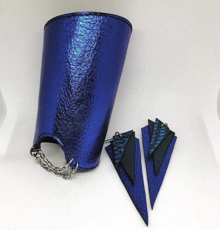 unique handmade leather bracelet glam blue double face EvilEve