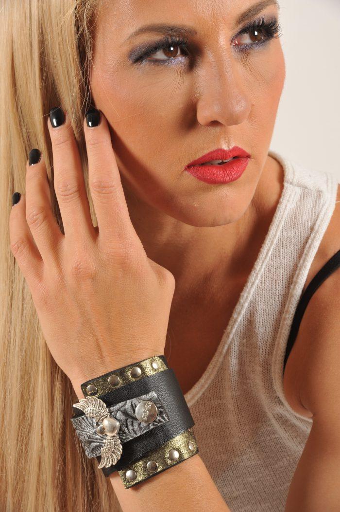 unique leather bracelet rocker angelwings wrap around cuff evileve