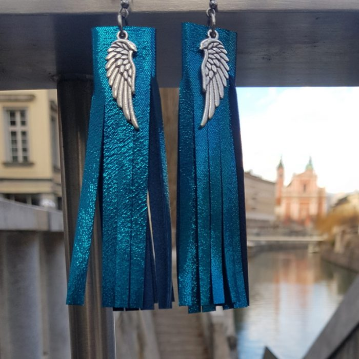 LEATHER EARRINGS Fringe Turquoise EVILEVE