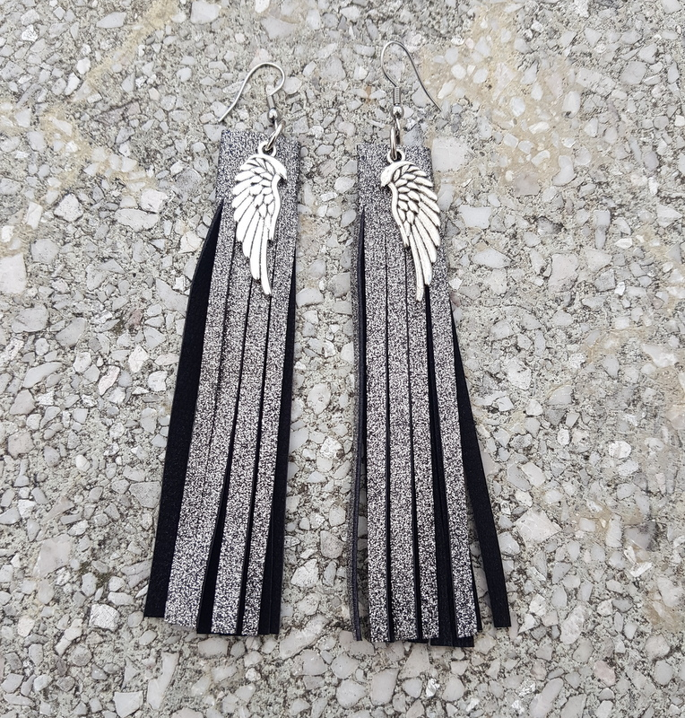 Fringe GLITTER LEATHER EARRINGS EvilEve