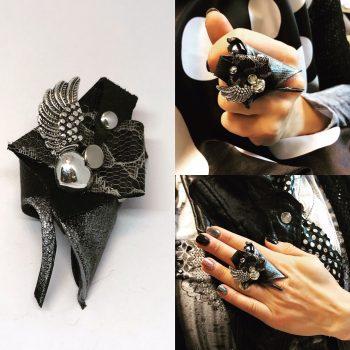 usnjen prstan evileve angelwing lace