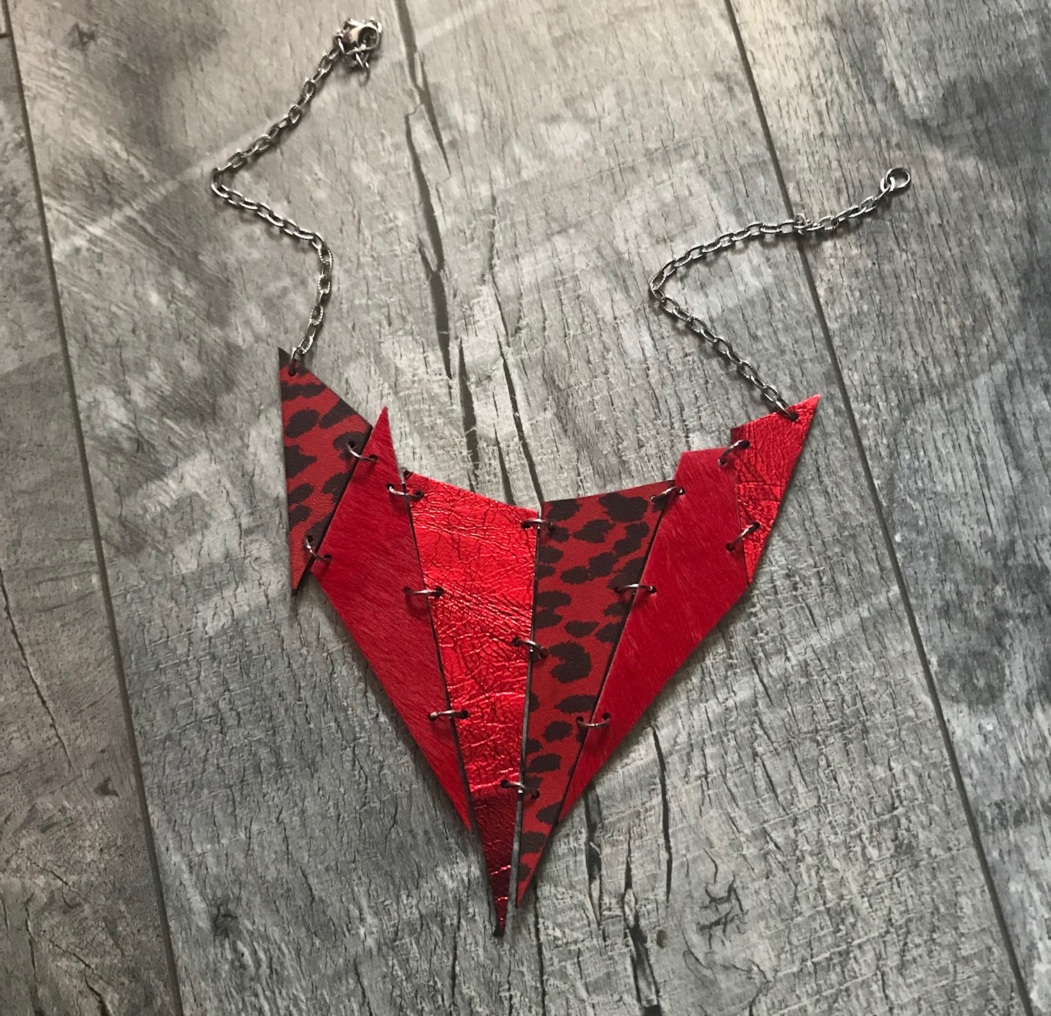 red and black double face leather necklace spike evileve